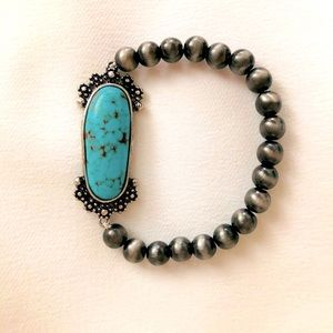 NAVAJO SILVER PEARLS TURQUOISE CONCHO BRACELET NEW